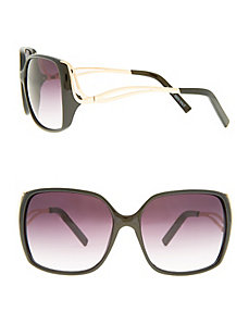 Square frame sunglasses with hardware