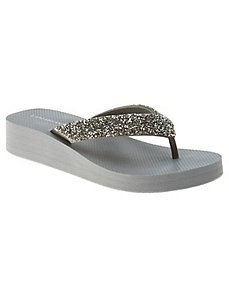 Bling wedge flip flop