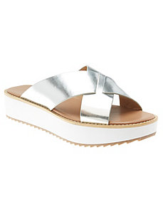Criss-cross platform slide sandal