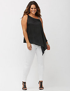 Embellished strap asymmetric top