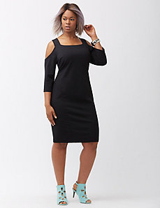 Ponte cold shoulder dress
