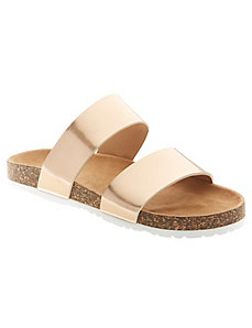 Foiled 2-strap slide sandal