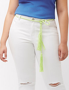 Braided tie belt with fringe