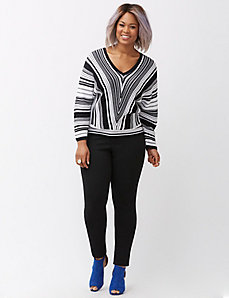 Mitered stripe kabuki sweater