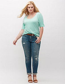 Paint-splatter wash boyfriend jean
