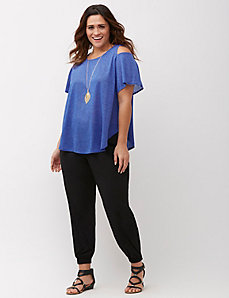 Flutter Sleeve Cold-Shoulder Tee