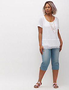 Crop Tee with Lace Peplum