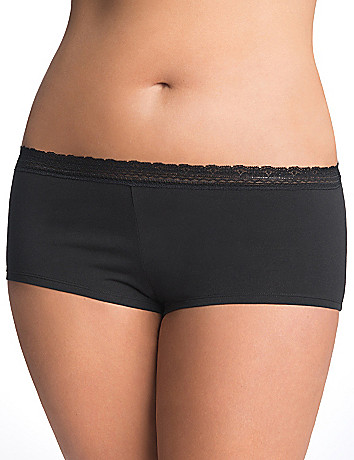 Flirty plus size Lace trim boyshort panty