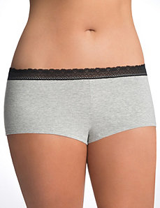 Sassy lace trim cotton boyshort panty