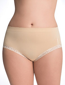 Seamless lace trim brief panty by Cacique