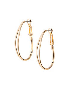 Silvertone slit hoop earrings
