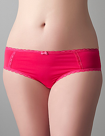 Soft plus size Lace accented hipster panty