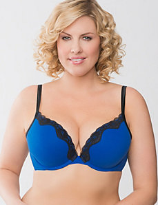 Lace trim cotton plunge bra by Cacique