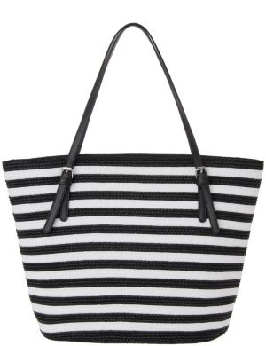 Striped straw tote bag by Lane Bryant