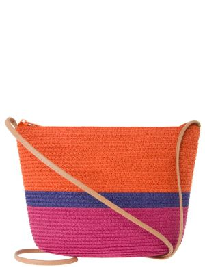 Colorblock straw shoulder bag by Lane Bryant