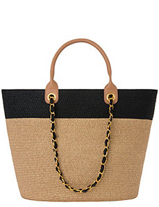 Colorblock tote bag with chain by Lane Bryant