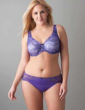 Passion lace full coverage bra, lace trim hipster