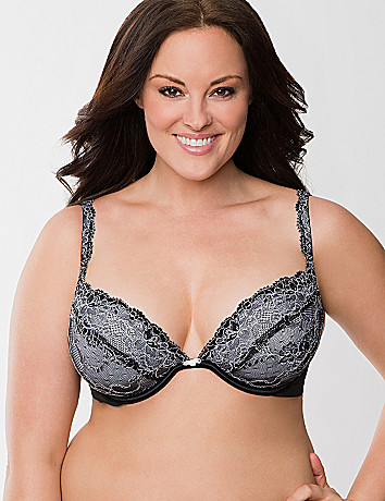 Plus size luxury lace plunge bra