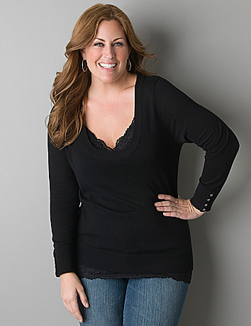 Scoop neck pullover sweater by Lane Bryant