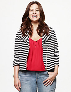 Striped moto jacket by LANE BRYANT