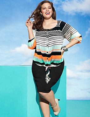 Striped blouse & skirt
