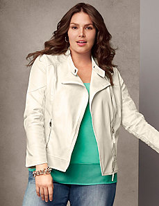 Perforated moto jacket by LANE BRYANT