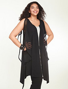 Zip-front contrast tunic by Isabel Toledo