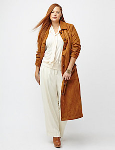 Faux suede long jacket