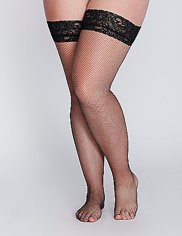 Fishnet Thigh High Pantyhose by Lane Bryant