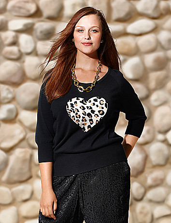 Animal print heart sweater