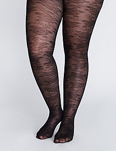 Floral lace control top tights