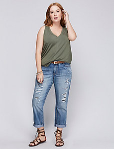 Destructed Denim Weekend capri
