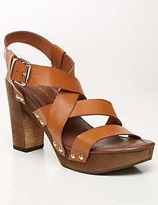Strappy wooden heel sandal