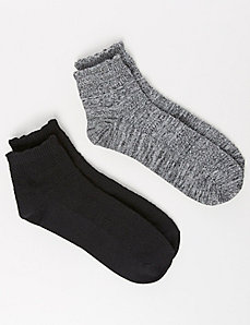 Fairisle textured bootie socks 2-pack