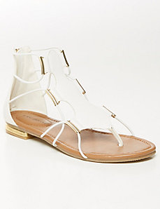 Stretch gladiator sandal with hardware