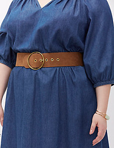 Faux suede belt with circle buckle