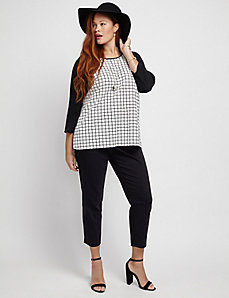 Grid Print Raglan-Sleeve Top