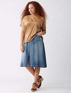Zip Front Jean Skirt