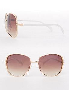 Rhinestone-Rim Aviator Sunglasses