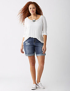 Denim Short with Crochet Underlay