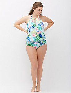 Print Blouson Swim Tank with Built-In Bandeau Bra