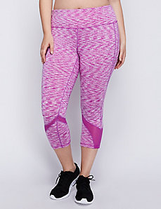Wicking Spacedye Capri Legging with Mesh