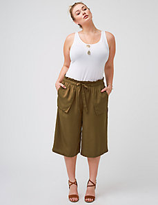 Military-inspired wide leg crop