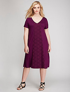 Lace Inset Trapeze Dress
