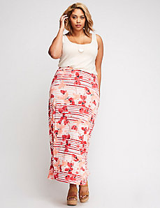 Printed Knit Maxi Skirt