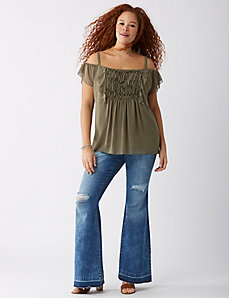 Ruffle-Front Cold-Shoulder Cami