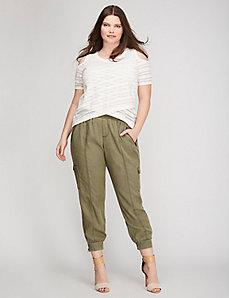 Shadow Stripe Cold-Shoulder Sweater