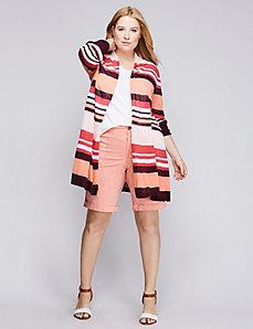 Striped Drape-Front Cardigan
