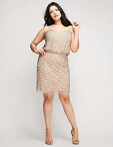 Short Beaded Cap Sleeve Dress by Adrianna Papell