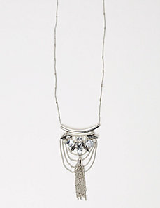 Jeweled Pendant & Tassel Necklace